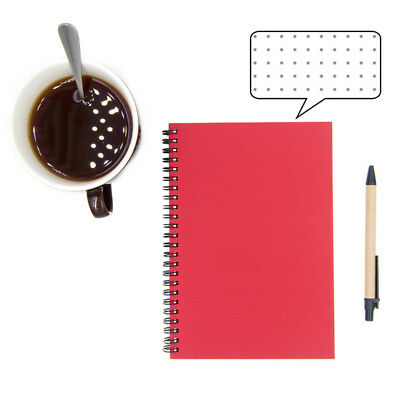 Red Dotted Spiral Notebook Bullet Journal Cardboard Cover Dot Grid Paper Book A5