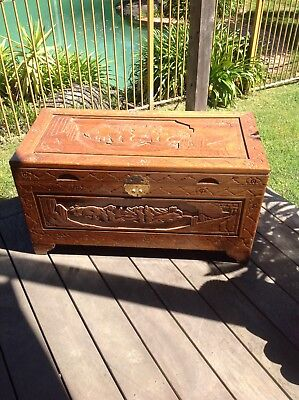 Vintage asian camphor wood chest.