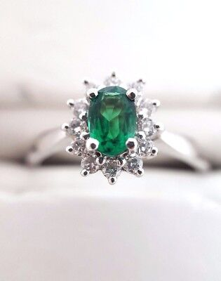 Emerald and Diamond Cluster Ring - 18ct White Gold (2978)