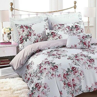 Great Knot 100 % COTTON FLORAL ROSA  PINK SINGLE DOUBLE KING DUVET COVER SET