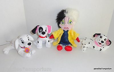 Disney 101 Dalmatians Plush Set Lot Cruella De Vil Doll Oddball Jewel Patch P73