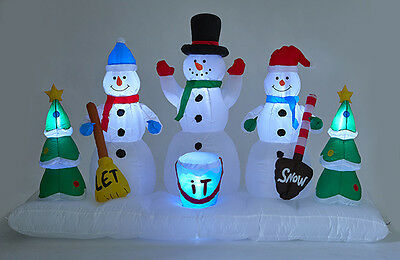 240cm Long Inflatable Winter Snowman Scene Light Up Xmas Decoration Outdoor 1080