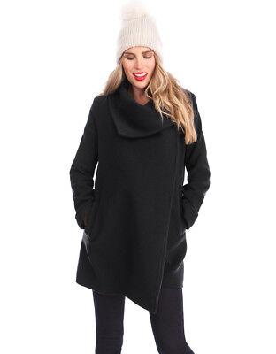 Seraphine Black Wool and Cashmere Mix Maternity Coat (Size 6)