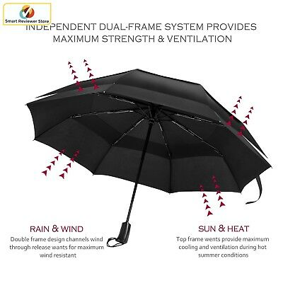 42 Inch Large Windproof Golf Umbrella Vented Double Canopy Automatic Open Black