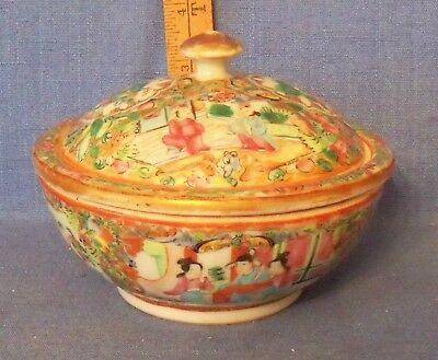 ANTIQUE 19th C QING ROSE MEDALLION 3 PIECE BUTTER DISH FAMILLE ROSE NO PROBLEMS