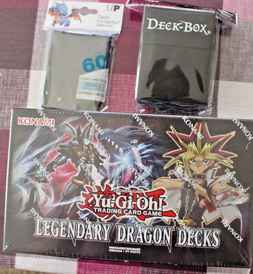 Yugioh Legendary Dragon Decks 3  + 60 Schwarze Ultra Pro Hüllen + UP Deck Box