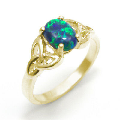 Trinity Knot Ring 9ct Gold 1ct Oval Galaxy Cultured Opal (OP13)