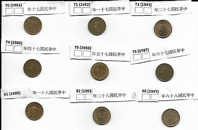 Taiwan  9 x 1Yuan Coins All Differant Special Markings