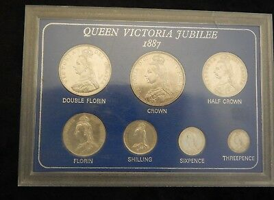 1887 Victoria silver unc set crown to  threepence