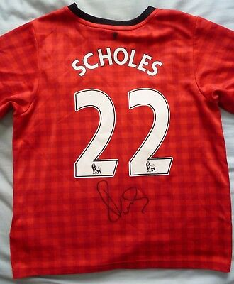 Paul Scholes Signed Manchester United Shirt - Name & Number, Old Trafford, MUFC