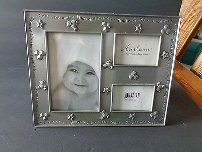 Pewter Desk Top  Heirloom  3 Opening Collage Baby Photo Frame SO CUTE
