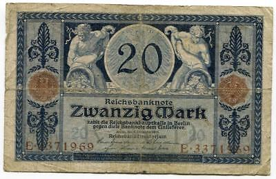 Original German Zwanzig Mark Twenty Mark Banknote 1915 Gallipoli Zeppelin Lusita
