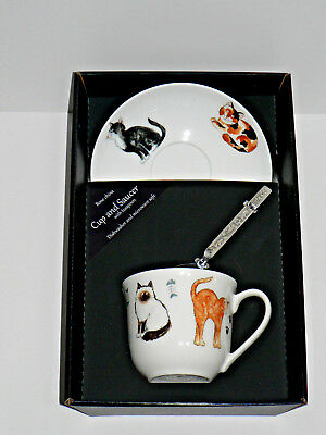 Cats and kittens bone china cup and saucer gift boxed with teaspoon