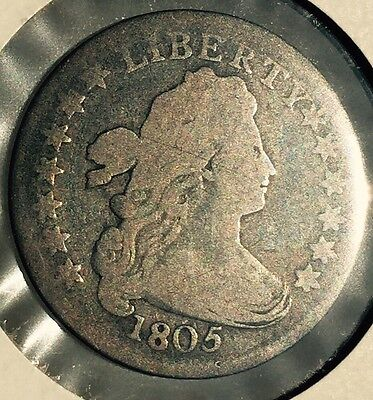 1805 Beautiful Draped Bust Dime Very Good to Fine details US Coin 4 berries