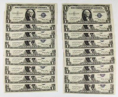 Set Of 18 Consecutive 1935 $1 Silver Certificate Star Notes