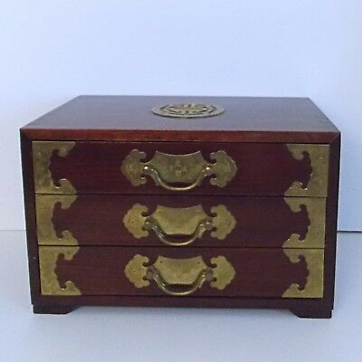 Antique Ornate Solid Wood Lacquered Chinese Jewelry Chest Rosewood