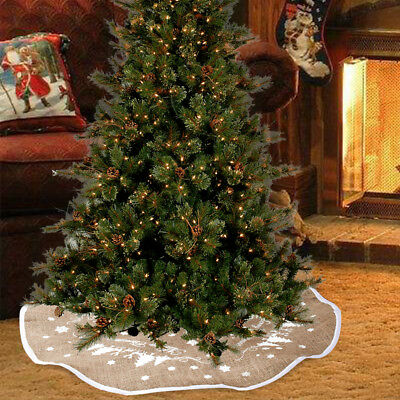 30/48inch Burlap Christmas Tree Skirt indoor decoration Snowflake party Supply