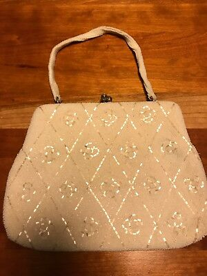 Vintage Beaded Ivory Evening Bag with Original Mirror and Comb