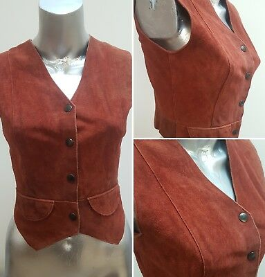 Vintage 1970S Brown Tan Suede Waistcoat Cowboy Cowgirl Hippy Boho 6 8 10
