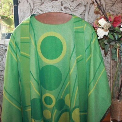 Vintage Green Cotton Gothic Priest Chasuble Vestment with Stole, Bruges
