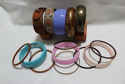 Bulk Lot Of Pre-Owned Assorted Mixed Bangles Patterns Metal Resin Wooden Boho