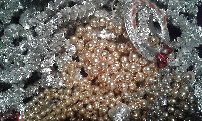 Vintage Glass Christmas Garland Lot Silver and Gold Silver Aluminum Gold Glass