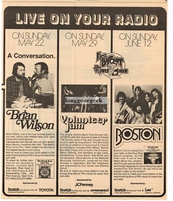 1977 Brian Wilson Boston Charlie Daniels King Biscuit Flower Hour Vtg Print Ad