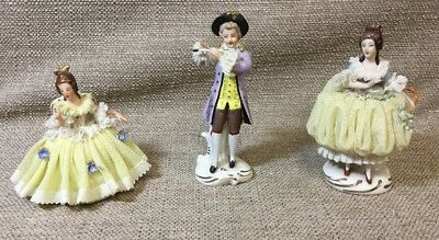 "3 Vintage Dresden Porcelain Lace 4"" Figurines Victorian Man & Women Germany"