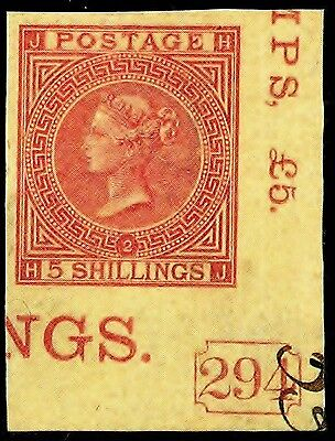 GB QV 5s Imperf Corner Marginal Nice Repro/Forgery on Wove Paper