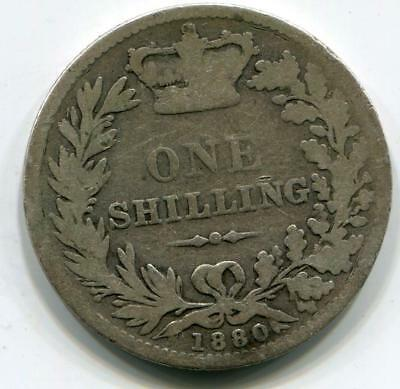 1880 Solid Sterling Silver Vintage Retro Queen Victoria Shilling Great Britain