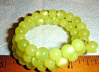 VTG YELLOW MOONGLOW NECKLACE CLIP SCREWBACK EARRING COIL MEMORY BRACELET LOT4pc!