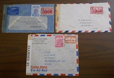Costa Rica 1940 s three airmails w/ special cancellations verified by censorship