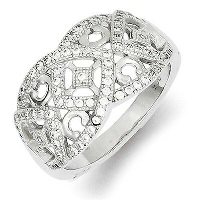Solid Polished Sterling Silver Antique Style Filigree Cz Ring / Band -  Size 6