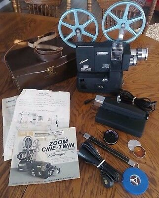 Working Wittnauer Cine-Twin 800 8mm Camera Movie Projector Combination with Case