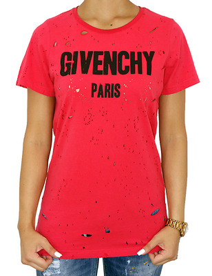 NEW TOP MODEL - GIVENCHY - PARIS - TORN Women's T-shirt - RED , WHITE