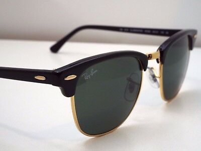 Authentic Ray-Ban RB 3016 W0365 Black Gold Green Clubmaster 49mm Sunglasses $190