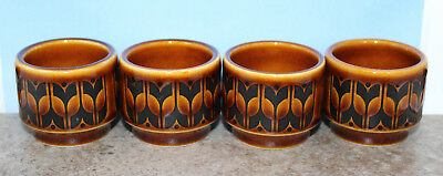 """Hornsea Heirloom Brown Set of 4 Egg Cups Stand England Vintage 4.0cm 1.5"""" Tall"""