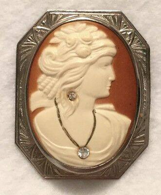 Antique c.1910s Habille Style Celluloid Cameo Brooch w/in Nickel Silver Frame