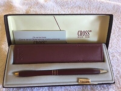 Vintage Cross Classic Ladies Ball Point Pen Burgandy With Pouch And Box