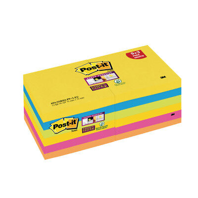 Post-it Super Sticky Z-Notes 76x76mm Rio Value Notes (Pack of 12) R330-SSRIO-P9+