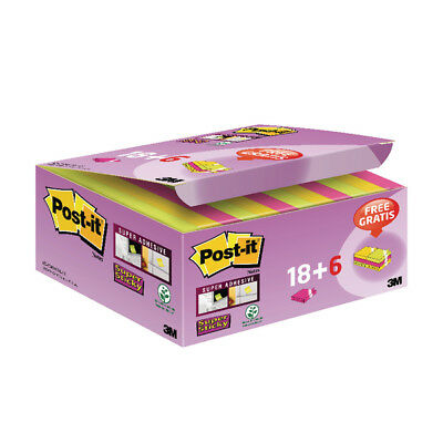 Post-it Super Sticky Notes 47.6x47.6mm Assorted (Pack of 18 + 6 Free 622- P24SSC