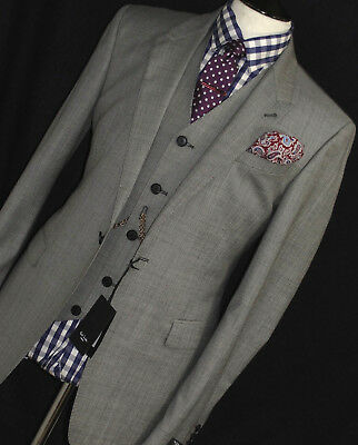 Bnwt Mens Paul Smith The Byard London Plain Grey 3 Piece Sartorial Suit 40R W34
