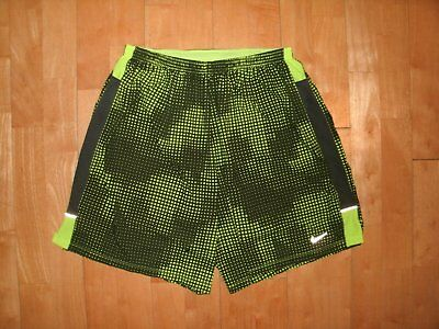 NIKE Athletic DRI-FIT Fitness Running NEON Green XL Shorts w Compression Liner