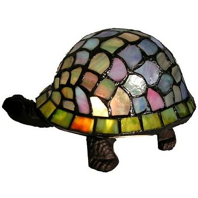 Tiffany Style Turtle Accent Lamp Table Desk Light Stained Glass Night Home Decor