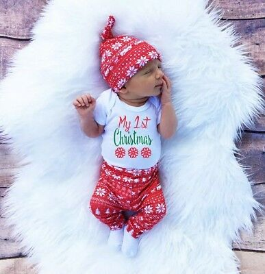 Infant Toddler Baby Christmas Outfit Pajama Long Sleeve &Pants Clothes Set w/hat