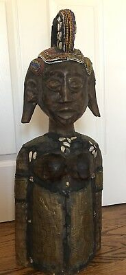Large African Primitive hand carved wood Tribal Woman figurine statue art 26""