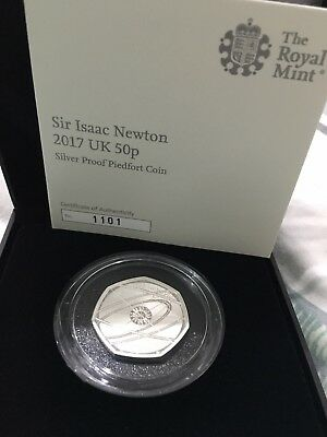 Newton 50p Silver Proof Piedfort Coin