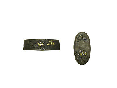 iron fuhchi & kashira with butterfly and flower designs