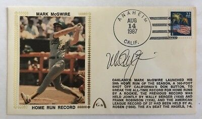 Mark McGwire Signed Autographed Gateway 1987 Home Run Record Cachet Blemished