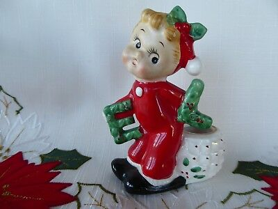 1950's EL of NOEL Ceramic Commodore Christmas Candle Holder - Figure in Red PJ's